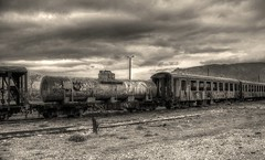 Τα τρένα που φύγαν... (theseustroizinian) Tags: greece greek hellas hellenic hdraward hdr blackwhite monochrome old train romantic