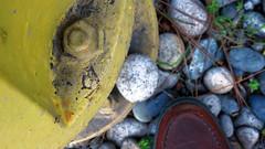 Quick & dirty (LeftCoastKenny) Tags: utata ironphotographer shoe roundish stone yellow hydrant utata:project=ip248 utata:description=hide