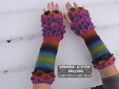 Crocodile FMitts Rainbow01a (zreekee) Tags: crochet sparkledoomdesigns rainbow furls bonitadesigns crocodilestitch