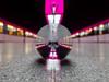 Pink at the MCTSiH (katrin glaesmann) Tags: hamburg tube metro ubahn station ubahnhof hvv u4 hafencityuniversität crystalball glaskugel colour train