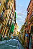 Latin Quarter, Madrid (tim constable) Tags: madrid spain espania capita city urban view scene scape latin quarter famous iconic tourist travel destination cobbles cobbled street bollards balcony neighbours neighbourhood cramped close together distance perspective diagonal lines timconstable terracotta historic old buildings skyline residential living airbnb