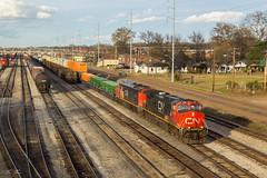 CN Q194 at CN Jackson Yard (travisnewman100) Tags: canadian national train railroad central division yazoo subdivision ge c408m rail yard intermodal manifest jackson mississippi q194 c449w locomotive