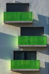 Three balconies (jefvandenhoute) Tags: belgië belgium belgique brussels brussel bruxelles light lines shapes balconies windows green sony rx10 photoshopcs6