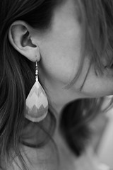 Day 315, Year 9. (evilibby) Tags: 365 3659 365days 365days9 libby detail earring feather featherearring light messyhair ear jewellery blackandwhite blackwhite bw