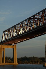 Arlington Sun (bMi2fotografx) Tags: daylight change light blue water river saintjohns sunset red bridge matthews expressway arlington