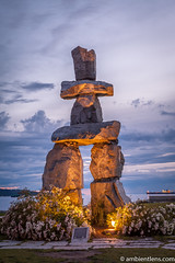 English Bay Inukshuk 5 (AmbientLens) Tags: bc beach britishcolumbia clouds nature outdoors park relaxing sculpture sea trees water canada coast englishbay inukshuk natural ocean pacificnorthwest rocks sunset vancouver