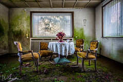 """""""and when I ushered Cramer in I expected to find Saul on his feet, moving up another yellow chair"""" (S-ka..) Tags: abandoned hotel decay verlaten rusty forgotten urban exploration dust urbex disused dirty unwanted paint nikon nature beautiful beauty verfallen unsaniert cach weatheres crash crashing colour color travel derelict creepy dark eksploracja ruins nostalgie forbidden spooky awesome quality verfall surreal forladte verlassen ditinggalkan abbandonato pamests apleistas abandonado photo salon yellow green chair"""