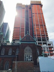 Old and new (jc1305us) Tags: new old city nyc urban tower church architecture contrast construction catholic apartments cross crane manhattan spire highrise opposites build hellskitchen croatian iphone stcyril iphone6 stmethodious