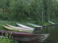 Rowboats on the shore of lake Pyhäjärvi