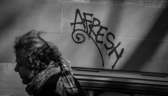 Amsterdam, The Netherlands (Gijs de Blauw) Tags: street travel people blackandwhite white man black male amsterdam person graffiti thenetherlands documentary bnw