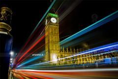 Big Ben. (¡arturii!) Tags: city longexposure england bus london tower architecture night vanishingpoint streetlight colorful shine bright unitedkingdom parliament bigben londres carlights diminishingperspective trailight