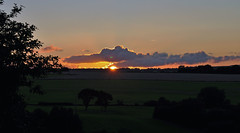 Summer sunset over Emley (littlestschnauzer) Tags: above light sunset summer sky cloud sun sunlight west weather silhouette rural landscape evening countryside nikon skies village view yorkshire july peaceful fields serene rays setting tranquil huddersfield emley 2015 d5000