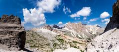 Panorama_5 (::Krzysiek::) Tags: sky mountains alps alpes landscape roc landscapes italia top peak s valley summit alpen alpi góry alpy dolina dolomiten viaferrata niebo cortinadampezzo wspinanie dolomity szczyt highmountains krajobraz przełęcz olomiti piarg grań ipella zczyt łochy