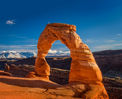 End of Day at Delicate Arch (Pillars of Creation Photography) Tags: arch delicate national park arches moab utah desert mountains rock sky clouds landscape peaceful sundown sunset impressive inspiration inspirational ancient formation erosion quiet lonely