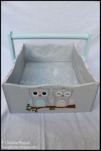 """Fraldário, cesta, caixa de toalhitas e caixas de recordações de bebé """"Baby Owls Twins"""""""