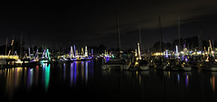 Santa Cruz Harbor Christmas Lights (punahou77) Tags: christmas merrychristmas lights reflection star water santacruz santacruzharbor california nikond7100 sky stevejordan night