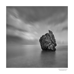 Alone (Alex Apostolopoulos) Tags: blackandwhite longexposure monochrome clouds fineart rock seascape square cyprus sony sonya6000 ilce6000 samyang samyang12mmf20ncscs haidand30