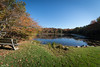 Outlet Pond (jessp.) Tags: autumn bluesky canon eaglesmere endlessmountains fall fallcolors green leaves nature october perspective petrohoy pond reflection sullivancounty t4i trees view