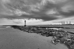 Weather at Perch Rock 2 (another_scotsman) Tags: perchrock lighthouse mersey newbrighton seascape landscape monochrome blackandwhite clouds sky