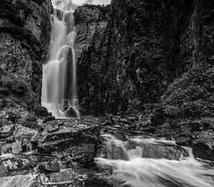 Wailing Widow Falls.. (Gordie Broon.) Tags: wailingwidowfalls bw unapoolburn assynt sutherlandshire unapool kylesku scottishhighlands scotland schottland waterfall paysage landscape paisaje caledonia scenery ecosse escocia lochnagainmhich szkocja rocks rio lochinver skiagbridge kylestrome nedd inchnadamph scenic scenario cliffs gorge gordiebroonphotography canon5dmklll canon1635f4l scottishwesternhighlands monochrome geotagged touristboard