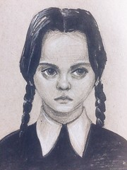 Wednesday Addams (most blue rain in your window) Tags: drawing scetch graphics addams letraset marker pen pencil