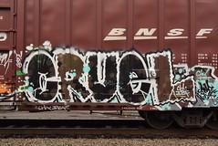 CRUEL (TheGraffitiHunters) Tags: graffiti graff spray paint street art colorful freight train tracks benching benched cruel boxcar