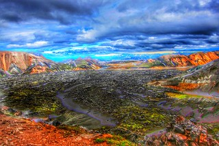 Iceland Republic  ~ Lava Bed Rock  ~ Landmannalaugar Route ~  Ultramarathon is held on the route each July ~ Hiking from Camp