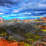 Iceland Republic  ~ Lava Bed Rock  ~ Landmannalaugar Route ~  Ultramarathon is held on the route each July ~ Hiking from Camp thumbnail