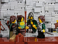 Captain Lorthand's Introduction (aardwolf_83) Tags: street door city musician music lighthouse house building tower water statue wall port harbor boat fishing dock alley rocks ship lego cottage shack tripp build causeway oro moc isil abner lenfald yursuff