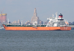 SEA FRONTIER in New York, USA. June, 2015 (Tom Turner - SeaTeamImages / AirTeamImages) Tags: nyc orange usa newyork water port bay harbor marine unitedstates harbour transport anchorage pony maritime transportation anchor statenisland bigapple tanker waterway stapleton tomturner seafrontier