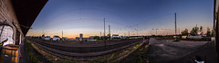 a waiting game (gnseblmchen) Tags: railroad sunset sky urban panorama lines station skyline graffiti town sonnenuntergang outdoor himmel railway bahnhof powerlines trainstation rails dri gleise hdr highdynamicrange dynamicrangeincrease stromleitungen currentlines