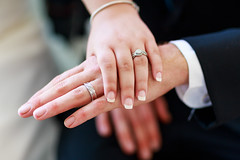 Matrimony (sweeneybrandon) Tags: wedding white black diamonds couple dress bokeh joy marriage husband naturallight event rings tuxedo wife tones matrimony fiancé