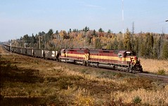WC 7504-7507, Eagle Mills, MI. 10-11-2003 (jackdk) Tags: railroad train railway wc locomotive coal ore lsi wisconsincentral sd45 emd coaltrain oretrain standardcab emdsd45