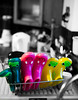 Washing Up (jayneboo) Tags: 365 wellies boots colour selective kitchen sink washingup fun children eyes faces