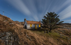 Three Chimneys, Bays of Harris (The Flying Monk) Tags: baysofharris abandoned derelict outerhebrides isleofharris tinroof corrugated rust nightphotography lightpainting tree clouds startrails croft