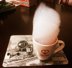 morning coffee (Leonard J Matthews) Tags: coffee morning froth bubble method fun play humourous humour mythoto australia cup placemat table cappuccino haste mug