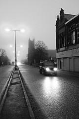 Aigburth Road (Towner Images) Tags: dawn road illumination light illuminated traffic jeep landrover grace church stcharles towner bw monochrome mono monotone blackandwhite whiteandblack tower silhouette liverpool merseyside england