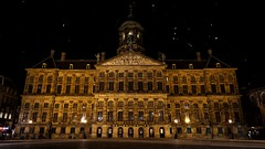 Royal Palace at Night (uhohthisismo) Tags: amsterdam netherland stars royal palace night jordaan explore adventure europe eu nl cold yellow dutch holland sony a5100 art beauty statue
