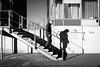 step by step. (P. Zimmer) Tags: sw bw schwarzweiss street urban stadt blackandwhite noiretblanc düsseldorf duesseldorf fujixpro1 haben harbour