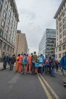 Witness Against Torture Huddles Outside the Presidential Inauguration of Donald Trump