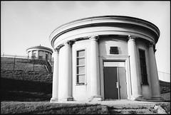 Westcott Reservoir pumphouses (senorton) Tags: bw newyork 35mm nikon upstate reservoir cny diafine syracuse pumphouse n60 fujiacros n10065 westcottreservoir roadtripsyracuse2005