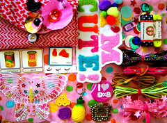 off to thistletown (Pink Sushi) Tags: beads ribbons mail craft things pineapple swap handcrafted patch badges trade applique snailmail