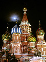 St.Basil's next to the full moon :) (Z!6) Tags: winter light moon snow church monument night dark lights russia moscow cybershot 100v10f noflash fullmoon redsquare mybest top20night  stbasils p200 bluelist 123faves specobject