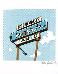 Gocco: Golden Valley Howl. (e50e) Tags: abandoned halloween minnesota sign altered found graffiti screenprint handmade pumpkins gocco silkscreen bowling goldenvalley suburbs ghosts publicart twincities bowlingalley