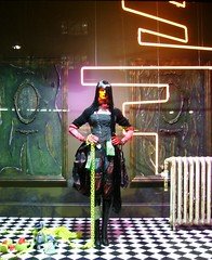 Selfridges Window Display (steeev) Tags: uk sculpture london art mannequin fashion geotagged artwork punk neon dummies gothic style chain fluorescent gloves selfridges flourescent accessories shopwindow windowdisplay dummy oxfordstreet radiator aibo stylish oxfordst flourescentlight gtica flourescentlighting w1a geo:lat=51514294 geo:lon=0153139 punkfashion punkstyle
