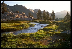 Meadow under the Minarets (Buck Forester) Tags: california morning wild mountains nature creek sunrise landscape bravo stream searchthebest hiking meadows sierra velvia backpacking wilderness sierras sierranevada minarets creeks anseladamswilderness highlites sierravisions