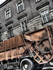 Drink the fountain of dEcay (dElay) Tags: windows sky photoshop delay decay poland cracow builiding dustcart stupidtags krakoff 3exp softhdr mieciara cyfra