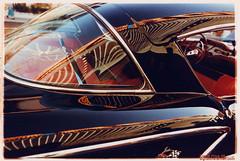 Las Vegas Freemont St. Classic Cars reflects casino (etravus) Tags: old travel vegas windows red vacation black reflection classic film tourism glass car canon interestingness paint flickr neon tour lasvegas wheels away hist