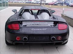 Porsche Carrera GT (Miki216) Tags: autoshow porsche sportcars design black wing turbo back rearmirrors worldcars car vehicle olympus carrera gt spoiler shower rain