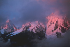 Chamonix from Bellachat (Stephen P. Johnson) Tags: france mountains alps canon wow mt explore velvia chamonix blanc alpenglow specland